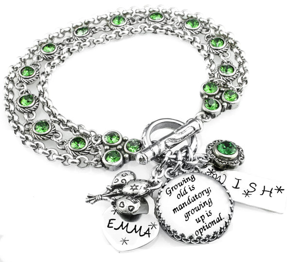 Handmade Birthstone charm bracelet with Swarovski crystals in stainless steel