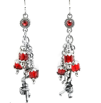 12 drummers drumming 12 days of christmas earrings