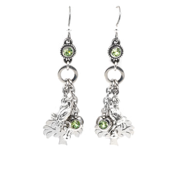 Twelve Days of Christmas Dainty Birthstone Earrings, 1st Day, Partridge in a Pear Tree