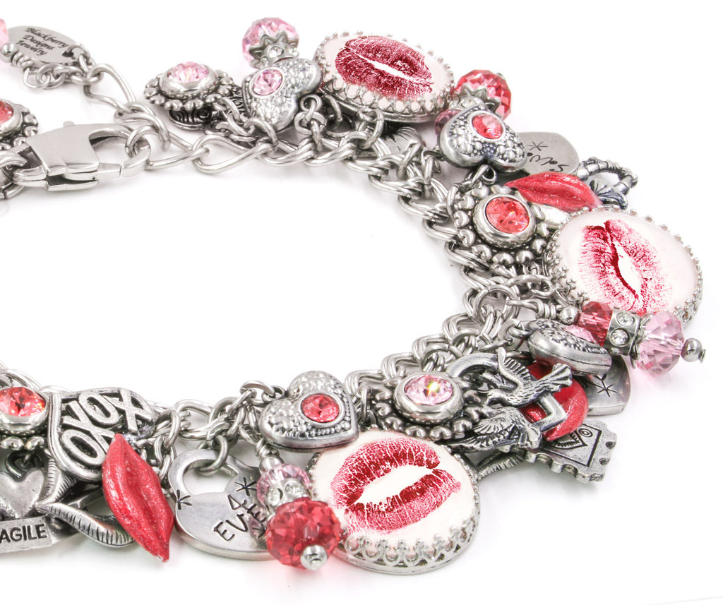 kiss bracelet, lips bracelet, love jewelry