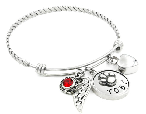 Personalized Pet Bangle Bracelet with Cremation Urn