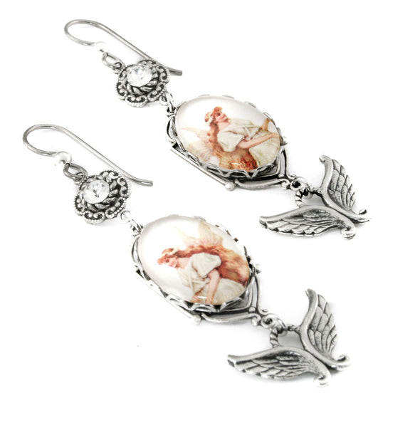 angel charm earrings