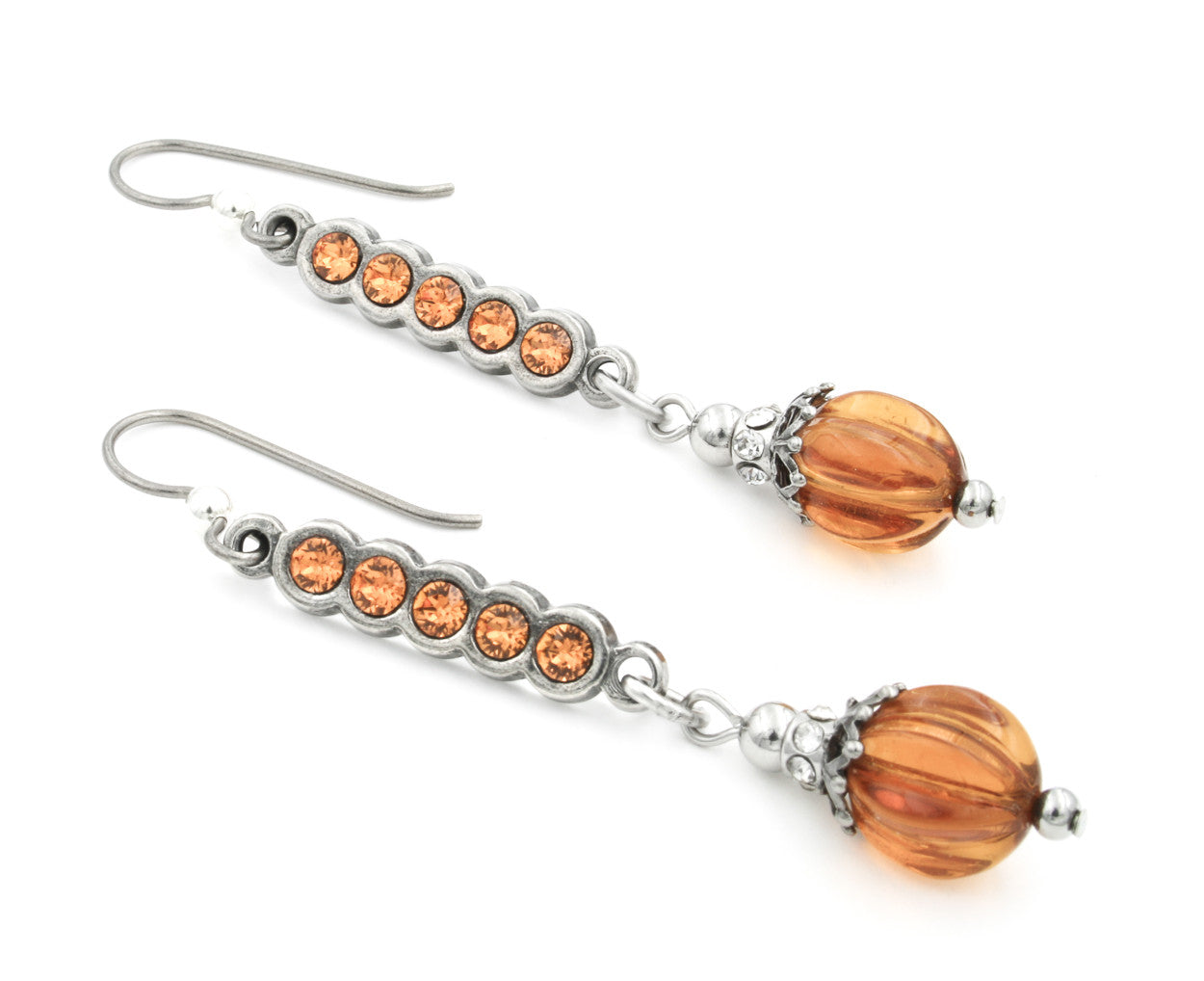 Glass Pumpkin Dangle Earrings