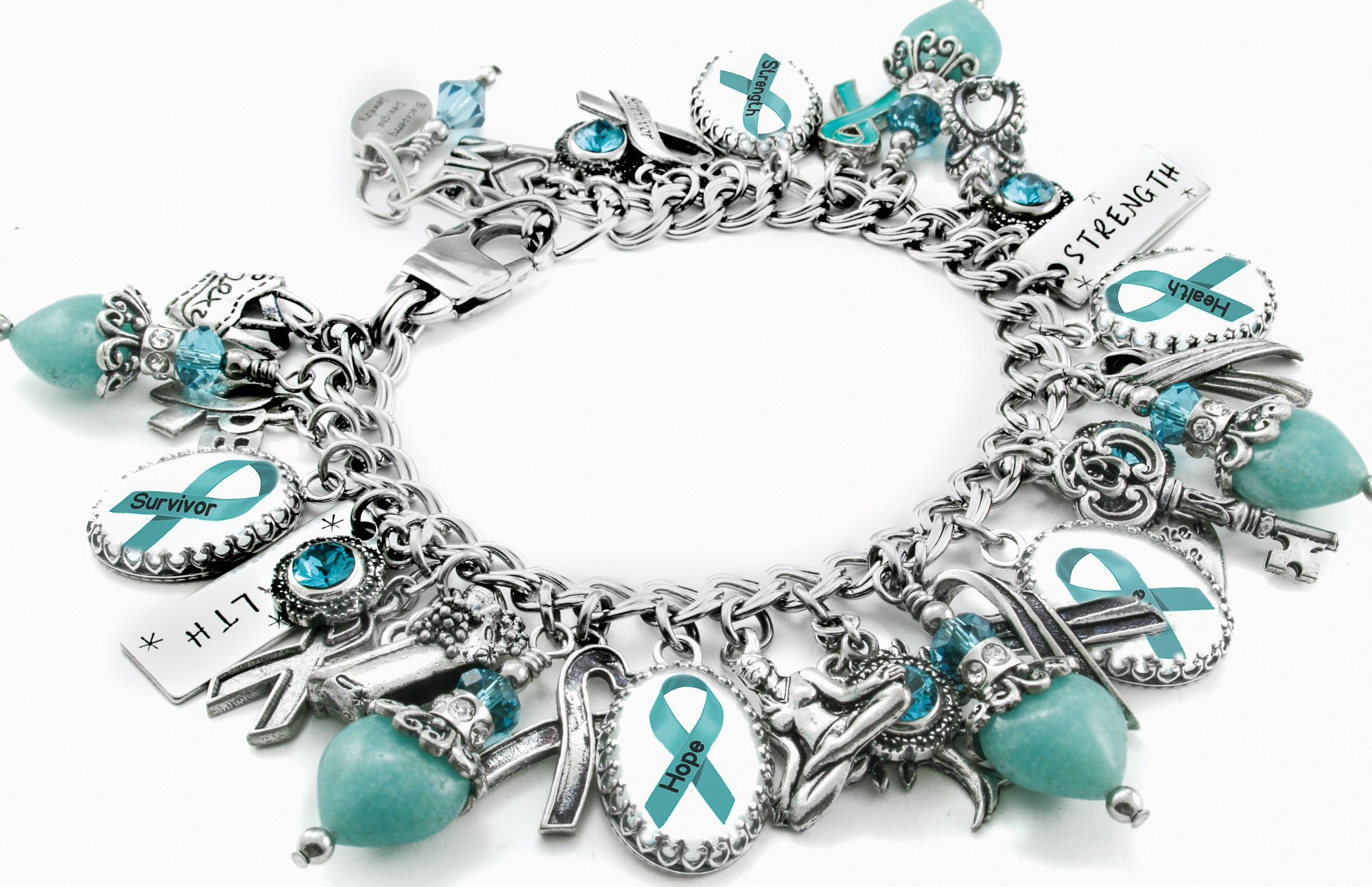 Handcrafted Ovarian Cancer Awareness Charm Bracelet With Teal Ribbons Blackberry Designs Jewelry