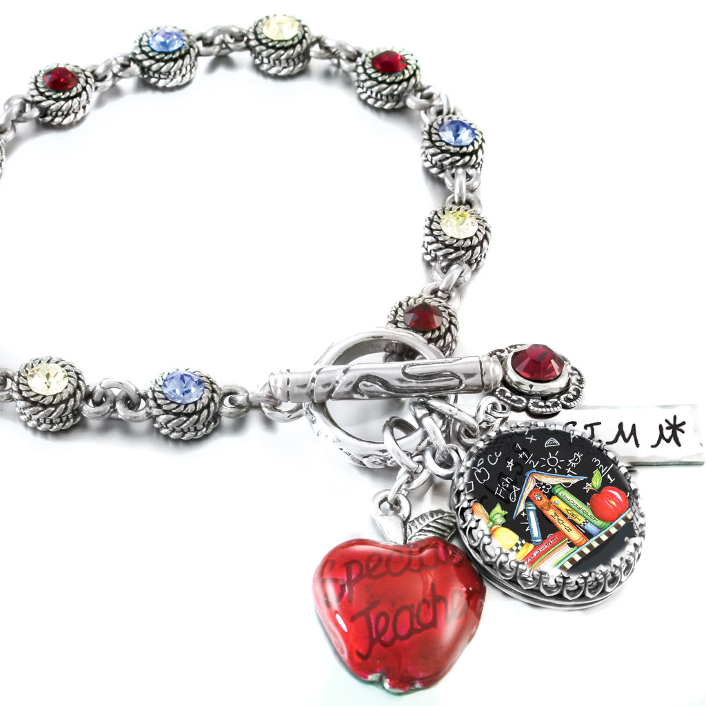 teacher bracelet, red apple charm, teacher charm