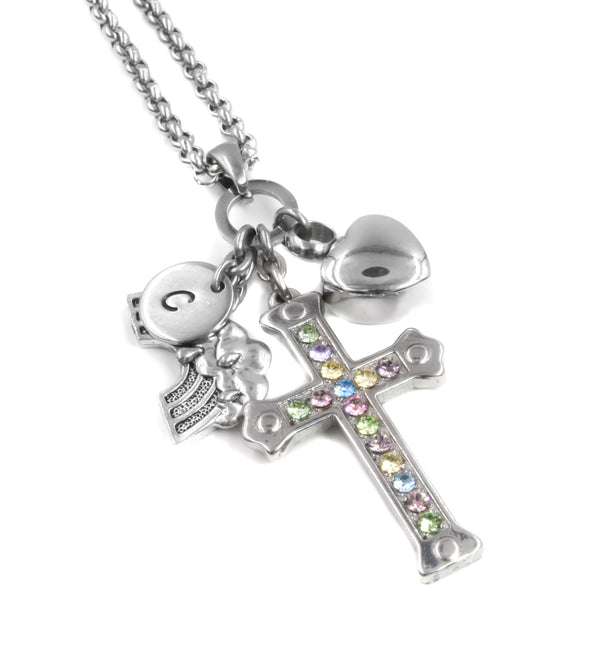 rainbow cross necklace, pastel crystals, heart urn