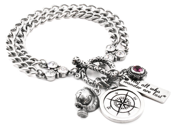 Compass Bracelet, Not All Who Wander