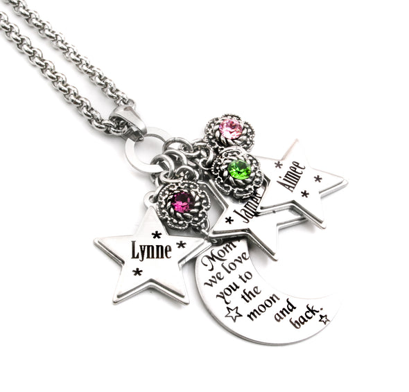 Personalized Engraved Mothers Necklace Moon and Stars