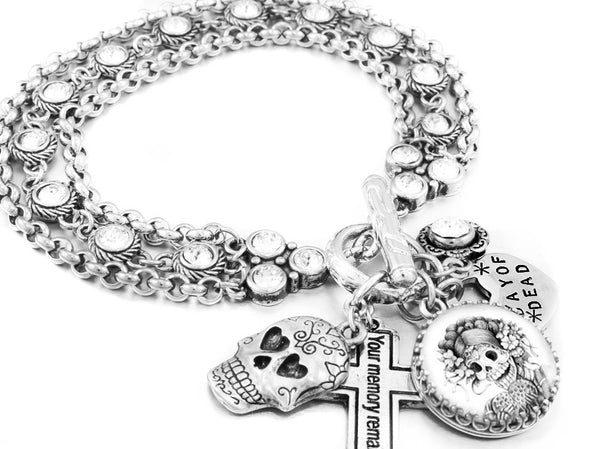 day of the dead charm bracelet with crystals