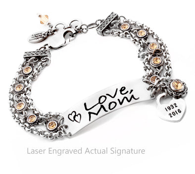 handwriting bracelet, signature jewelry