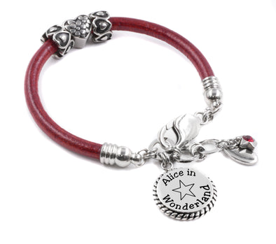 Alice in Wonderland Red Leather Bracelet