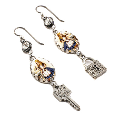 Alice in Wonderland Lock Earrings