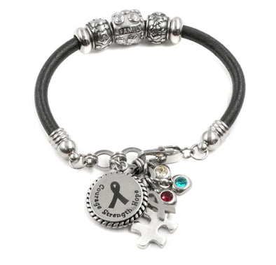 Autism Awareness Bracelet, Autism Leather Cuff, Puzzle Charm