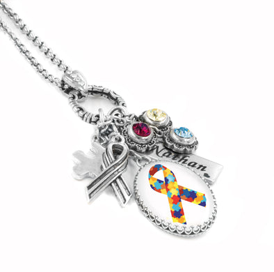 personalized autism puzzle necklace
