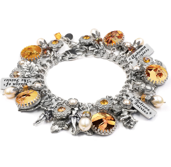 Autumn Fairy Charm Bracelet with real pearls