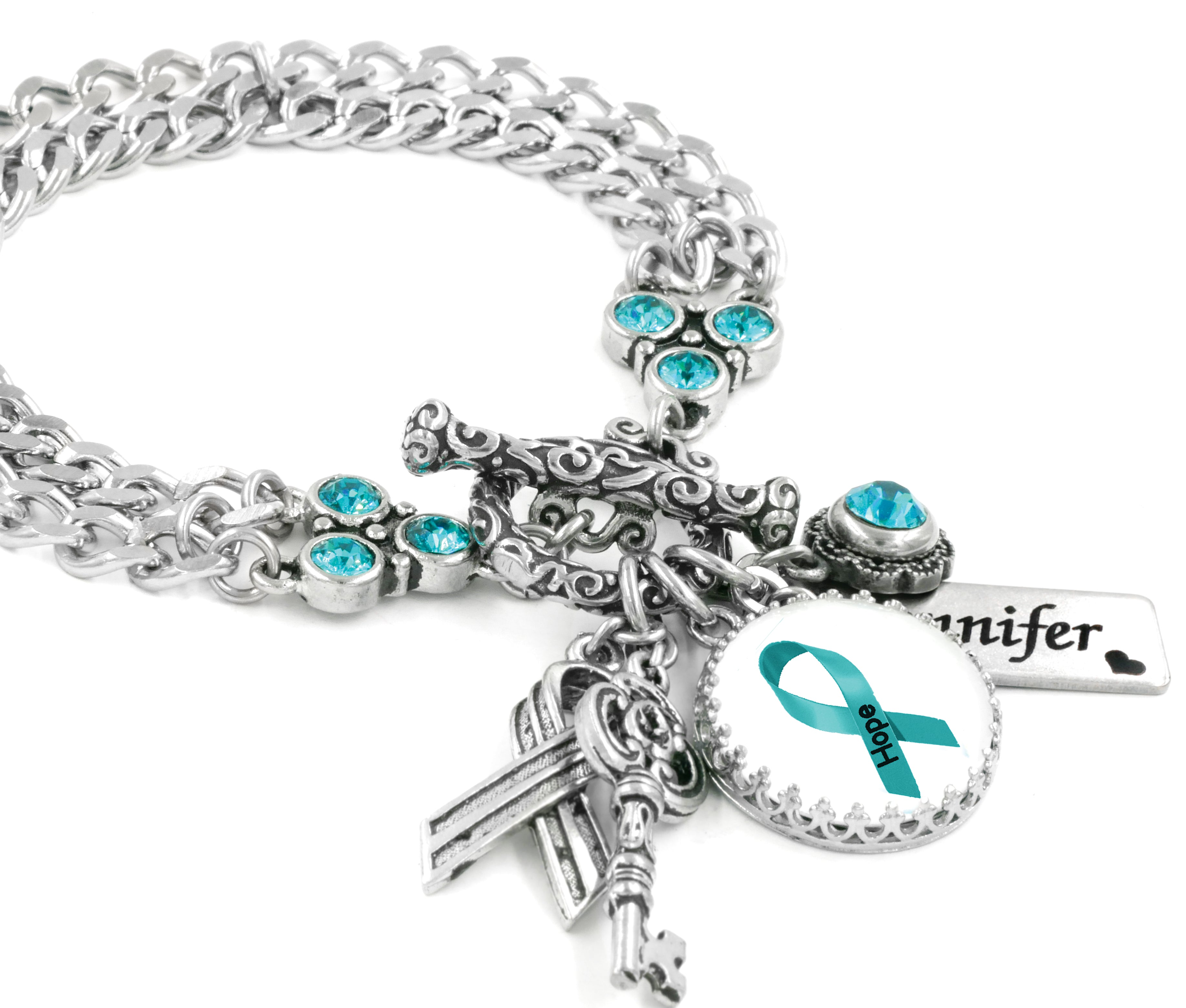 Ovarian Awareness Jewelry With Teal Ribbon And Personalized Name Blackberry Designs Jewelry