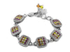 Green Purple and Gold chessboard bracelet