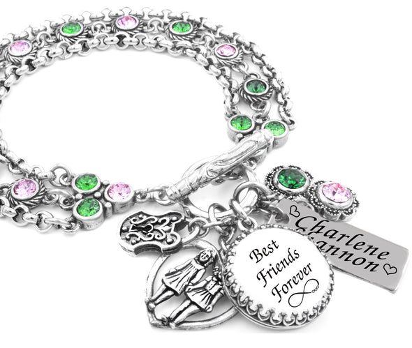 Best Friend Charm Bracelet: Best Friends Forever Birthstone Charm Bracelet Created In