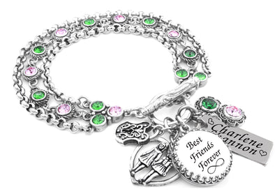 best friends silver charm bracelet