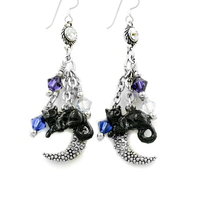 Black Cat Earrings in Crescent Moon