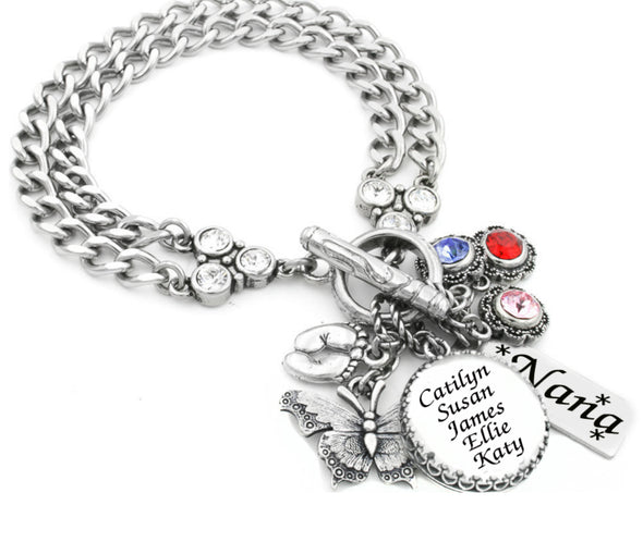 Grandmothers Birthstone Bracelet with Children's Names