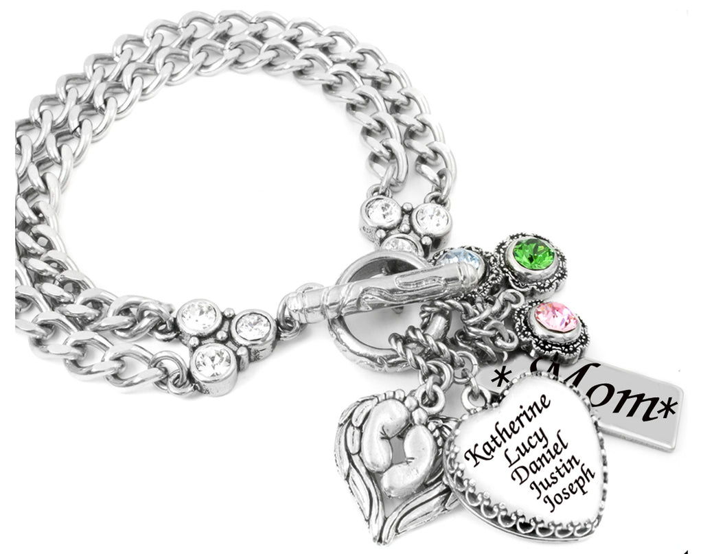 Mothers Charm Bracelet With Childrens Names; Kids Names Bracelet For  Grandma