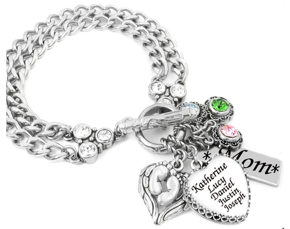 mothers charm bracelet with childrens names