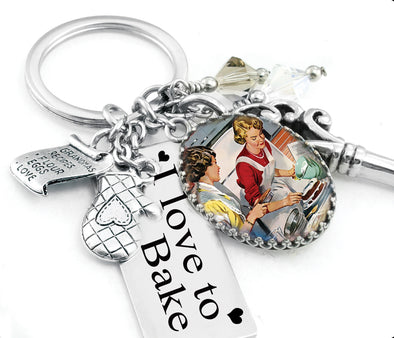 kiss the cook keychain, baker key chain, food keychain