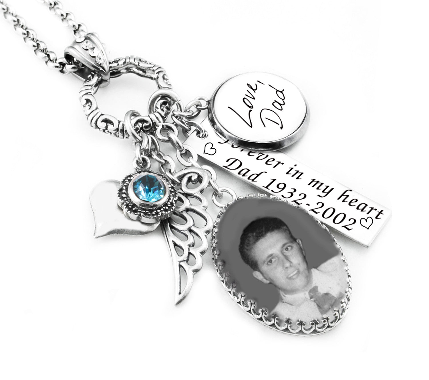 photo with necklace handwriting memorial products in personalized engraved dad jewelry