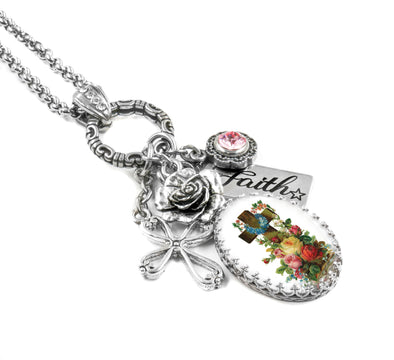 flower cross charm necklace