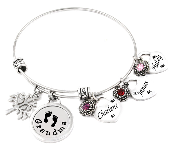 grandmother bangle bracelet with childrens names