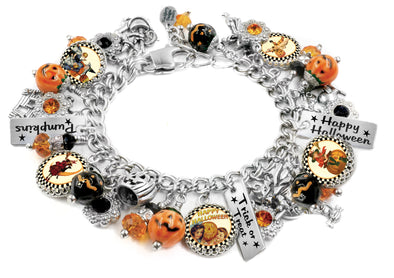 halloween bracelet, orange and black, pumpkin jewelry, pumpkin charms