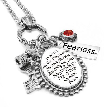 inspirational quote necklace let go