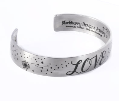 Love Cuff Bracelet with Engraved Quote in stainless steel