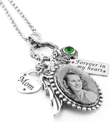 Memorial Necklace with Victorian Frame with Cremation Urn