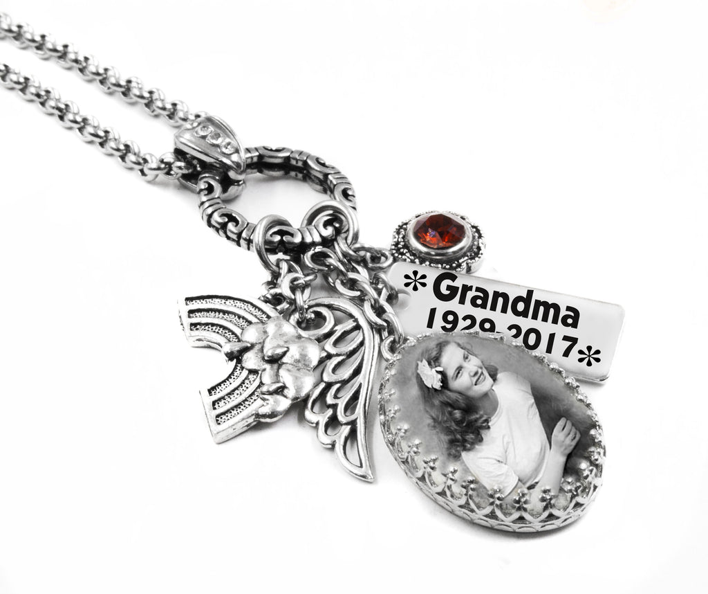 Personalized photo memorial necklace engraved and