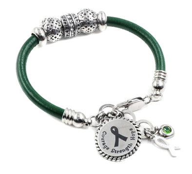 green ribbon bracelet, awareness mental illness