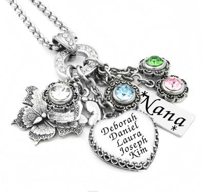 Heart Birthstone Necklace with Children's Name