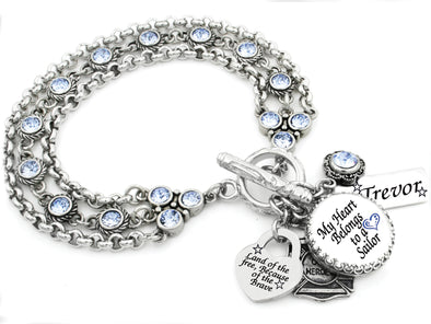 Personalized Sailor Crystal Charm Bracelet