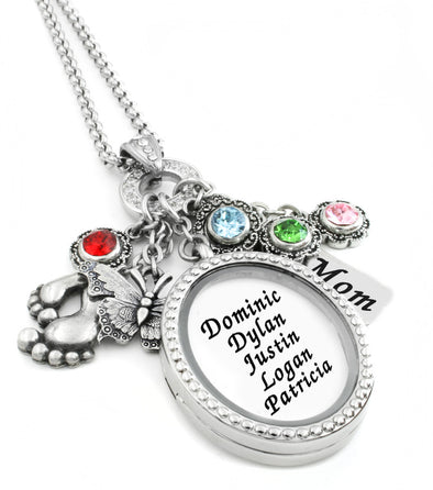 Mother's Oval Locket Necklace with Birthstones