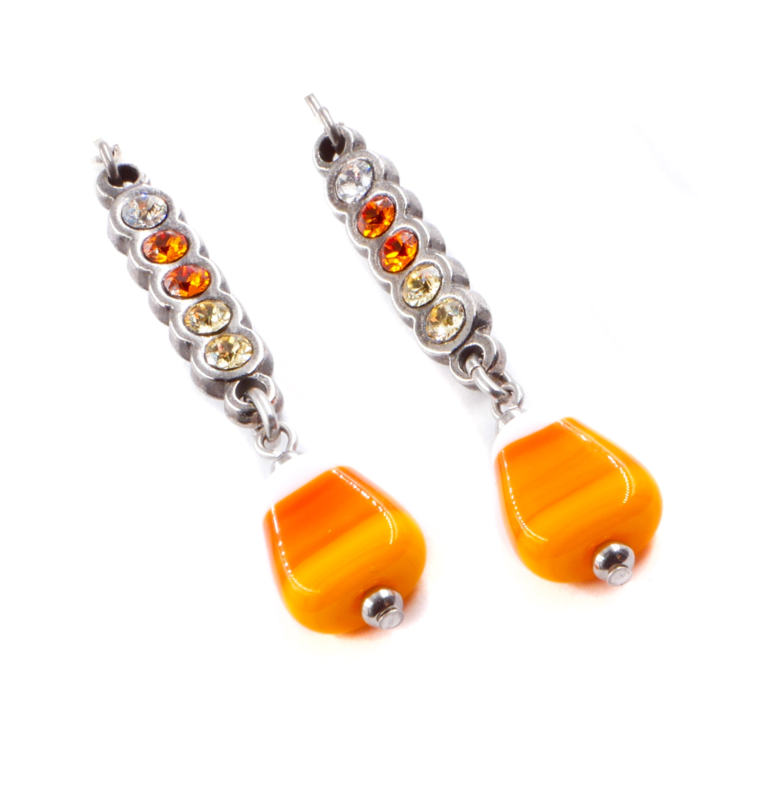 e6b1e37d8 Crystal Candy Corn Earrings for Halloween in Non Tarnish Stainless Steel –  Blackberry Designs Jewelry