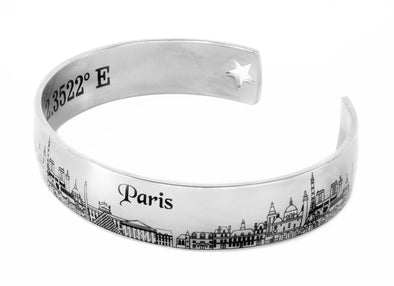 Paris Cuff Bracelet with Engraved Coordinates