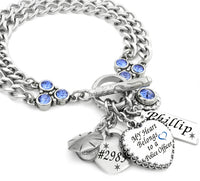 Personalized Police Officer Heart Charm Bracelet