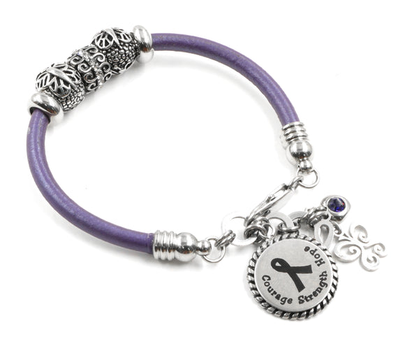 Purple Ribbon Awareness Leather Bracelet