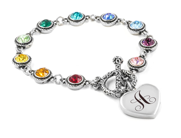 Personalized Rainbow Birthstone Bracelet with Monogram