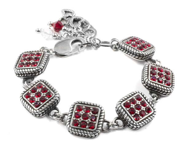 red swarovski crystal bracelet