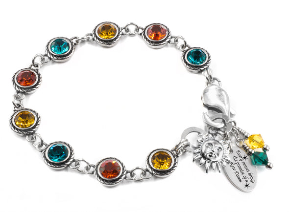 Swarovski Crystal Bracelet  Gold Turquoise and Red