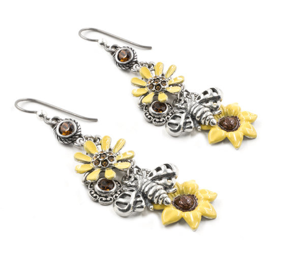 Sunflower Earrings with Chocolate Crystals