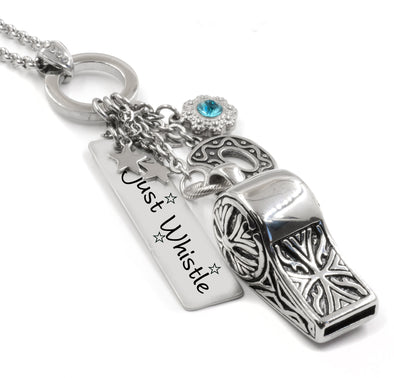 Bold Necklace with Whistle, Monogram and charms