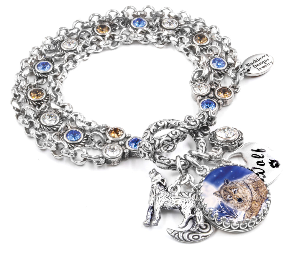 Wolf Charm Bracelet: Wolf Charm Bracelet, Wolf Jewelry, Wolves Jewelry, Charm